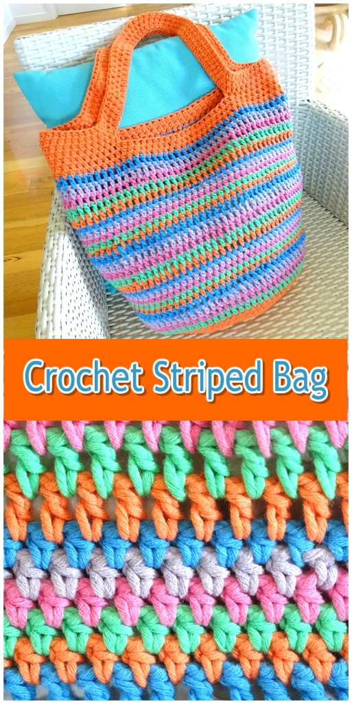 Crochet Bag Colourful Striped Collage