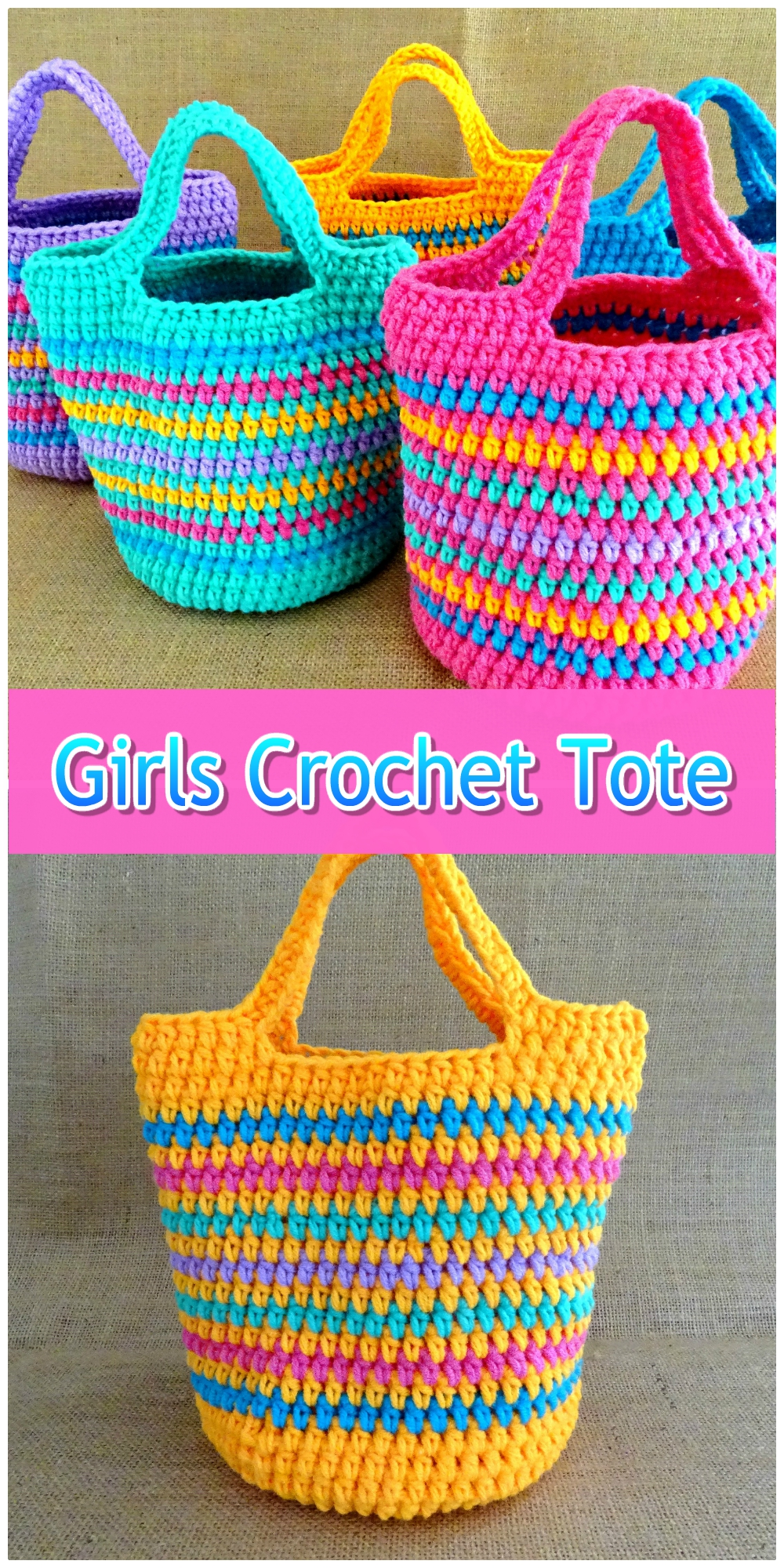 Crochet Girls Striped Tote Bag Collage Pink