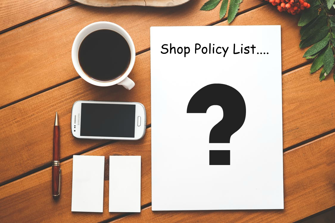 shop policy list with text